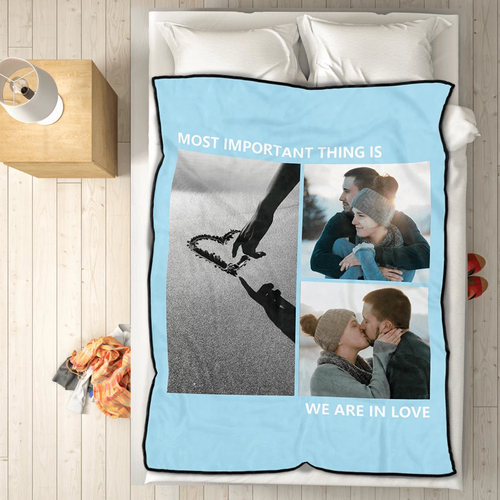 Custom love with 3 photos fleece custom blanket