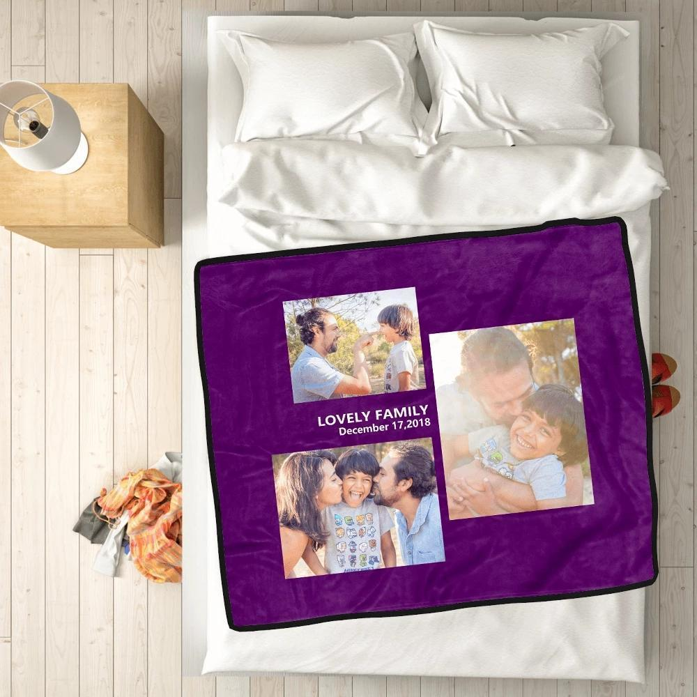 Custom love with 3 photos custom fleece custom blanket