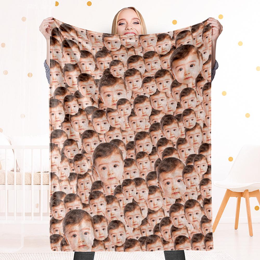 Custom Face Mash Blankets Personalized Pet And Person Fleece Blanket