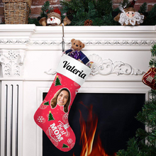 Custom Face Christmas Stocking Best MOM With Your Text