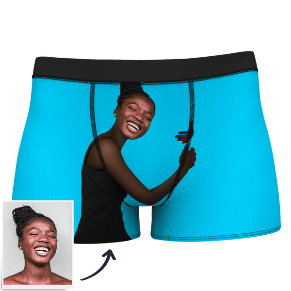 Custom Face Boxer Man Shorts On Body Dark Skin
