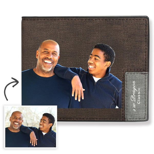 Short Custom Photo Wallet Brown Color Printing