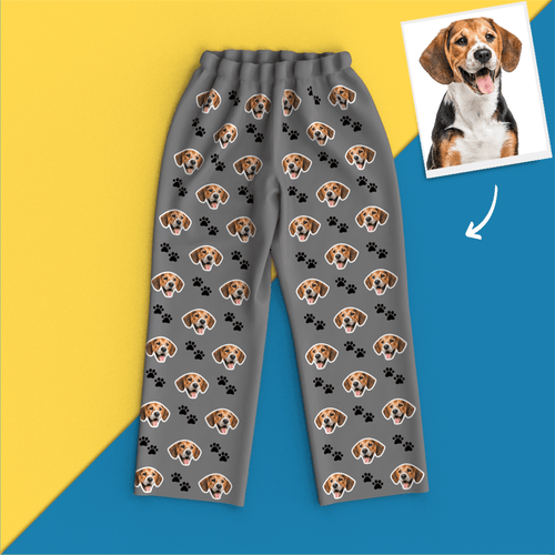 Custom Face Pajamas Long Sleeve Pajamas- Pet Footprint