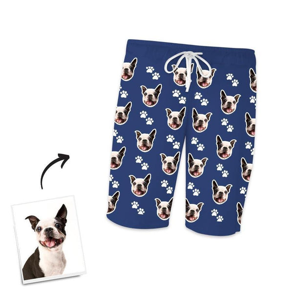 Custom Dog Photo Short Pajama Pants-Footprints
