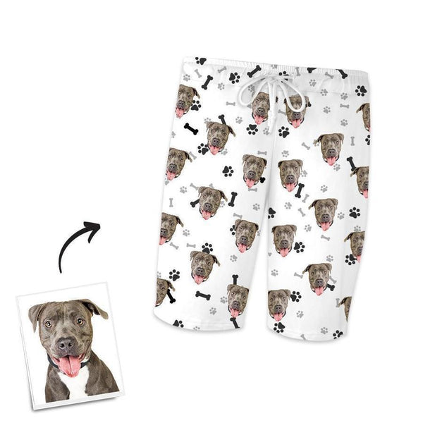 Custom Dog Face On Short Sleeved And Pants With Face Paw Bone Pajamas