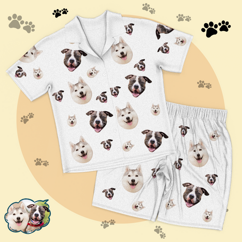 Custom Dog Face Pajamas Short Sleeved Shirtand Pants