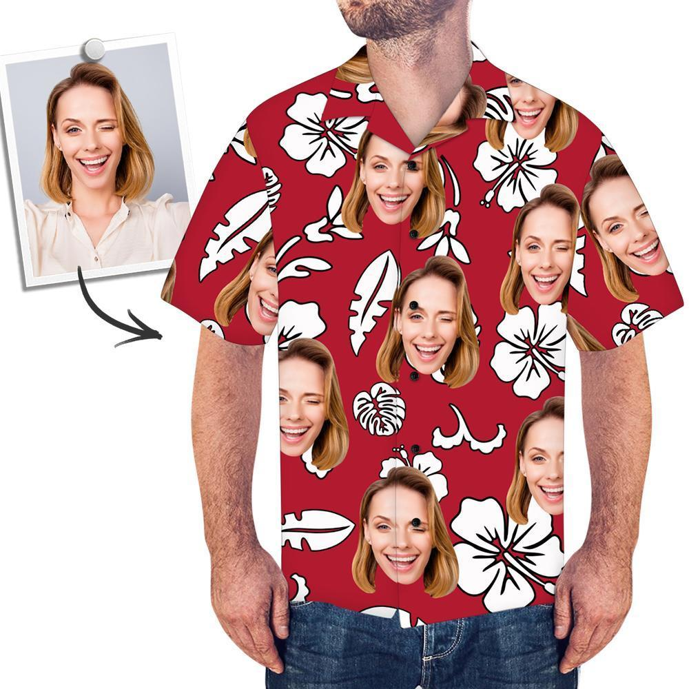 Custom Face Red Hawaiian Shirt Flowers And Leaves - faceboxeruk