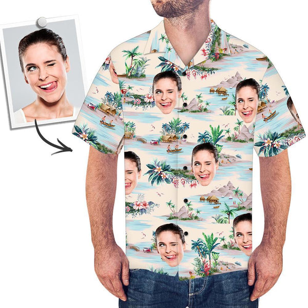 Custom Face All Over Print With Landscape Pattern Hawaiian Shirt - faceboxeruk