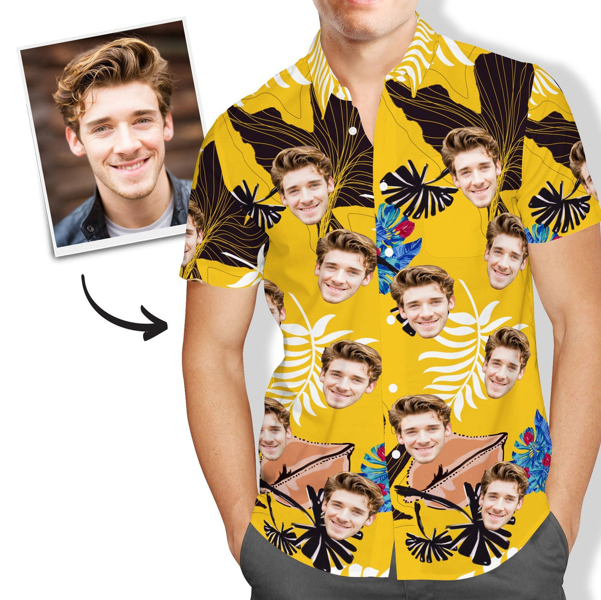 Custom Face Yellow Hawaiian Shirt Mens All Over Print - faceboxeruk