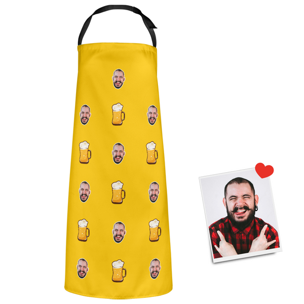 Custom Face Apron Cartoom Photo Apron-  Beer