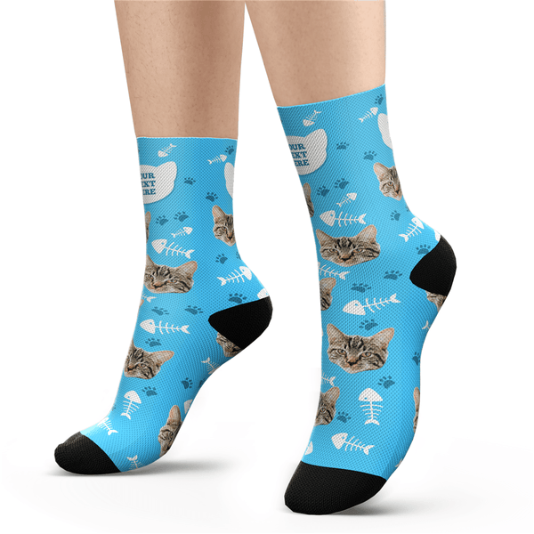 Custom Cat Socks With Your Text - Facesboxeruk