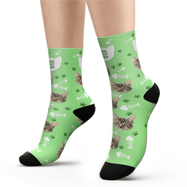 Custom Cat Socks With Your Text - MyFaceSocksUK