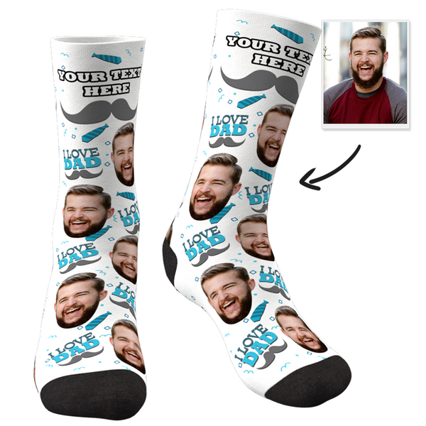 Custom I Love Dad Socks With Your Text - Facesboxeruk