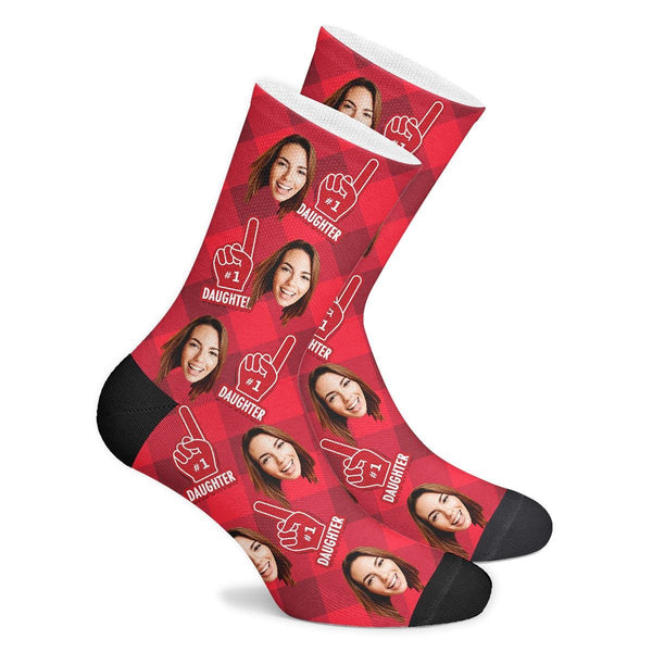 Custom #1 Daughter Fan Socks With Your Text - Facesboxeruk