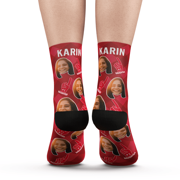 Custom #1 Daughter Fan Socks With Your Text - Myfacesocksuk