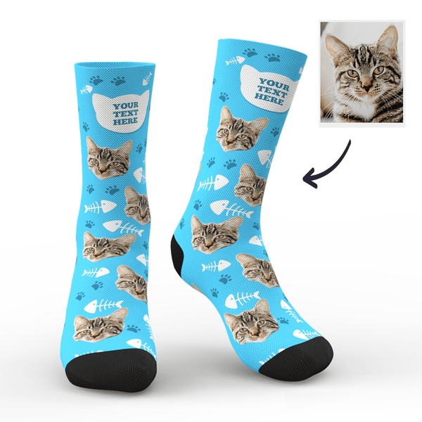 Custom Cat Happy Socks With Your Name