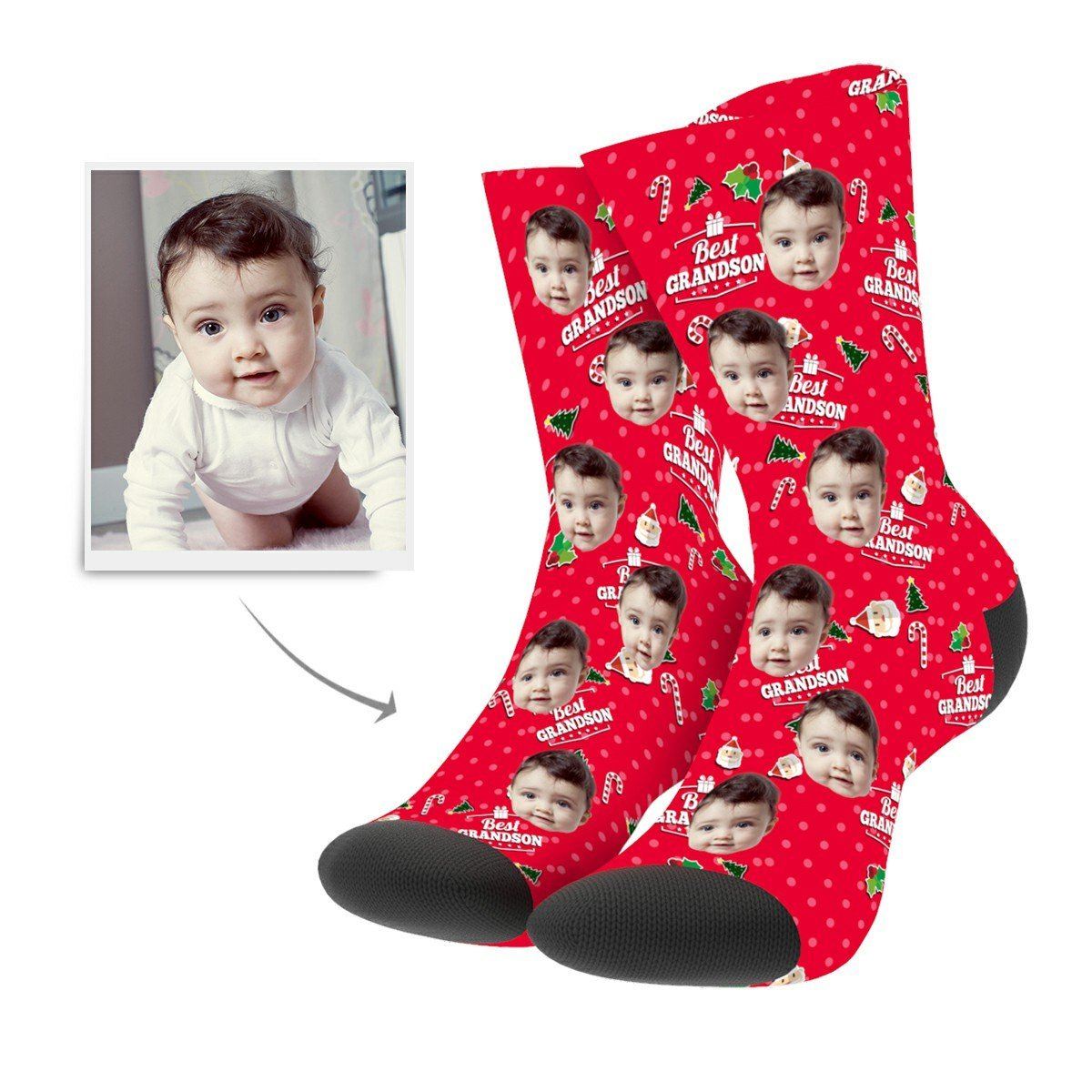 Christmas Custom Grandson Socks - Facesboxeruk