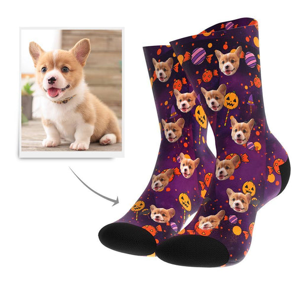 Halloween Custom Dog Socks - Facesboxeruk