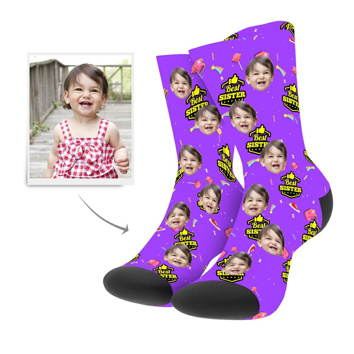 Custom Best Sister Socks - Facesboxeruk