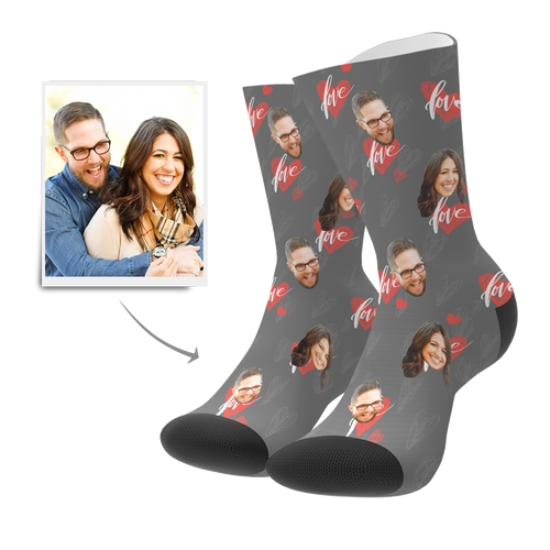 Custom Heartbeat Socks - Facesboxeruk