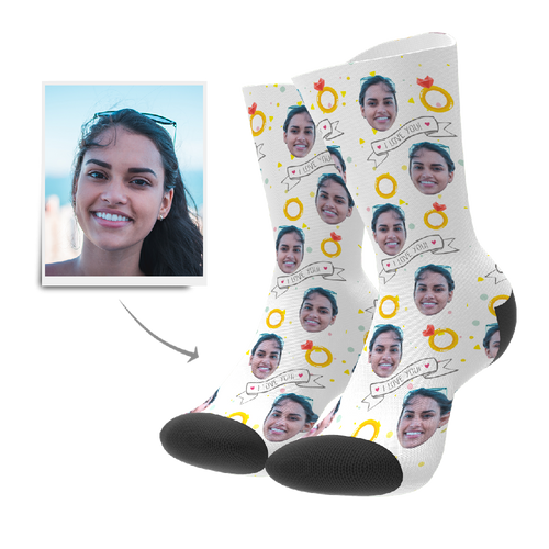 Custom I Love You Socks - Facesboxeruk