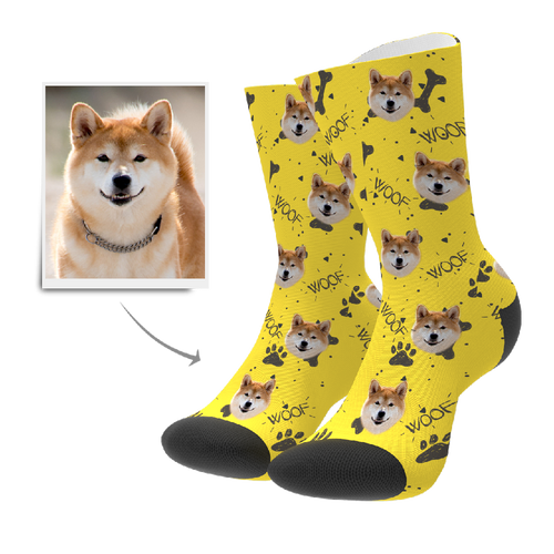 Custom Woof Dog Socks - Facesboxeruk