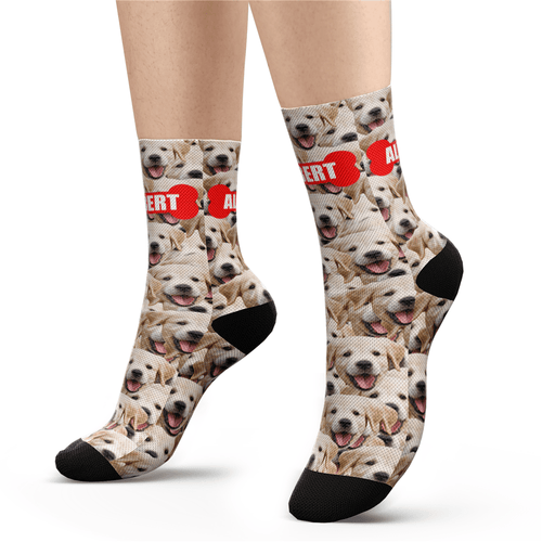 Custom Face Mash Dog Socks With Your Text - Facesboxeruk