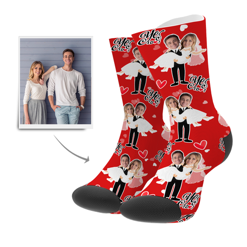 Custom Will You Marry Me Socks - Facesboxeruk