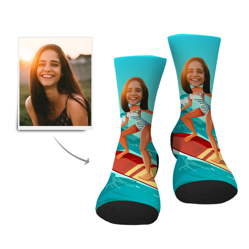 Custom Surfing Lady Face Socks - Facesboxeruk
