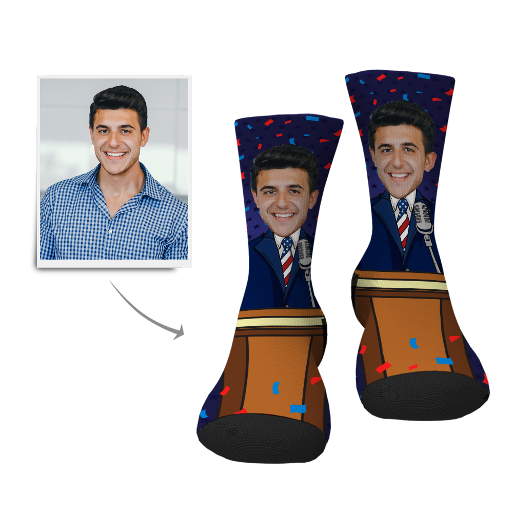 Custom President Face Socks - Facesboxeruk