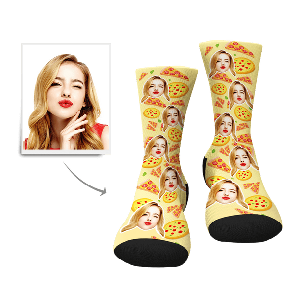Custom Pizza Pattern Face Socks - Facesboxeruk