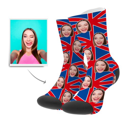 Custom Face Socks UK Flag