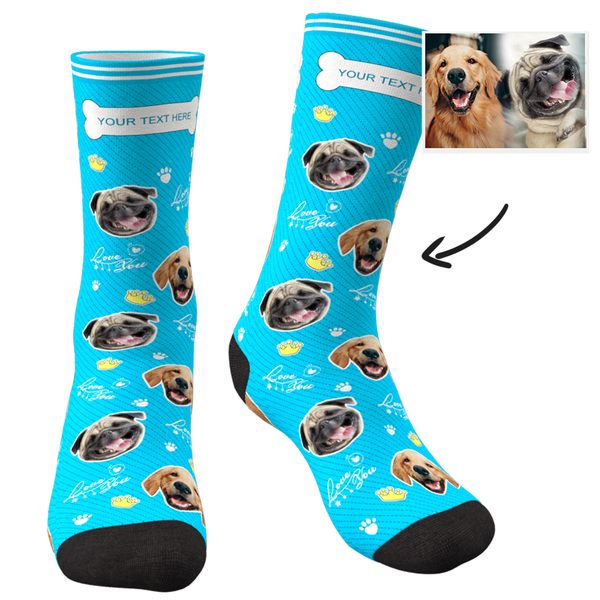 Custom Face Socks Love You Dog With Your Text - Faceboxeruk