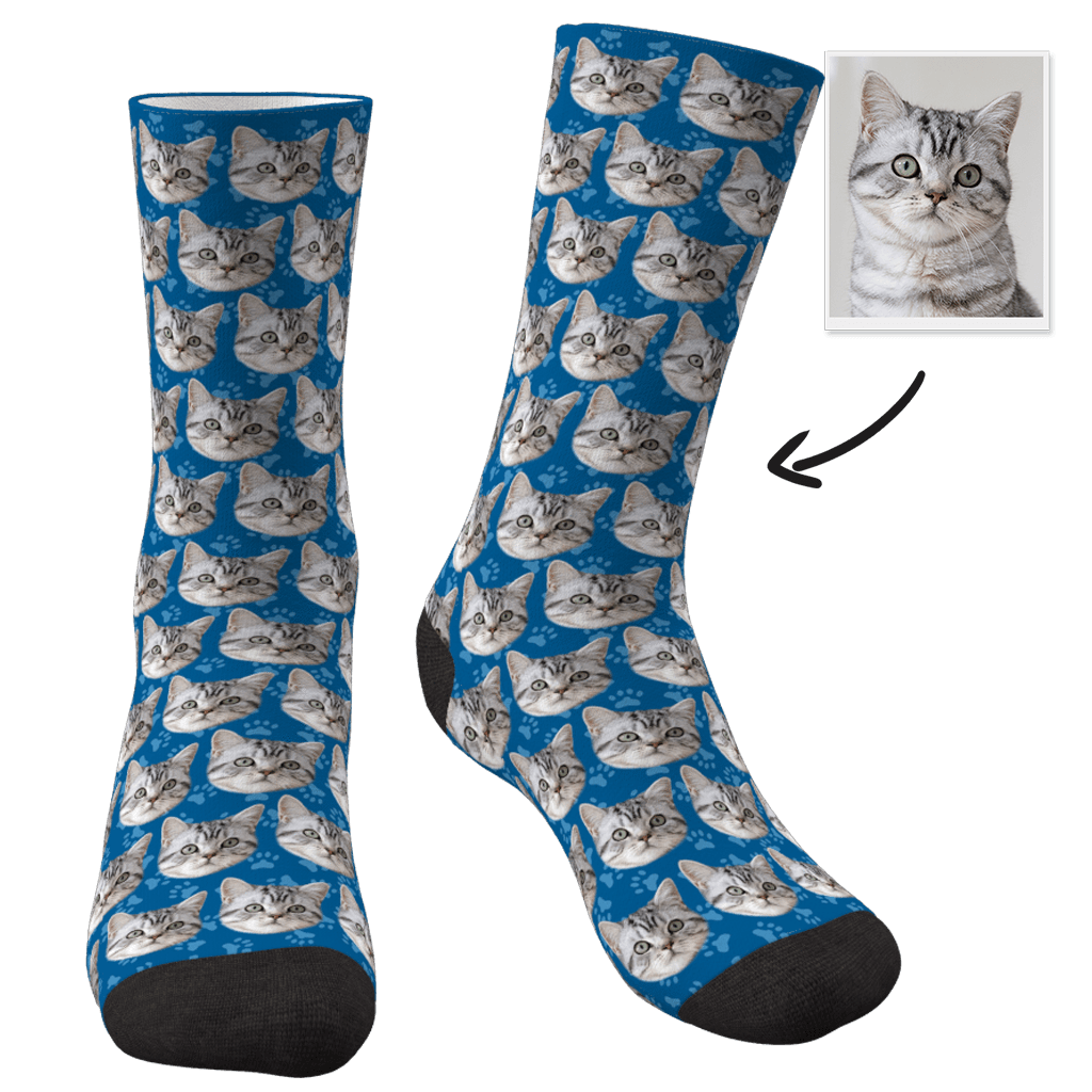 Custom Photo Socks Cat - Faceboxeruk
