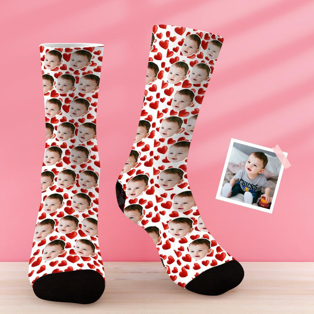 Custom Baby Face Sock with Emjo Heart