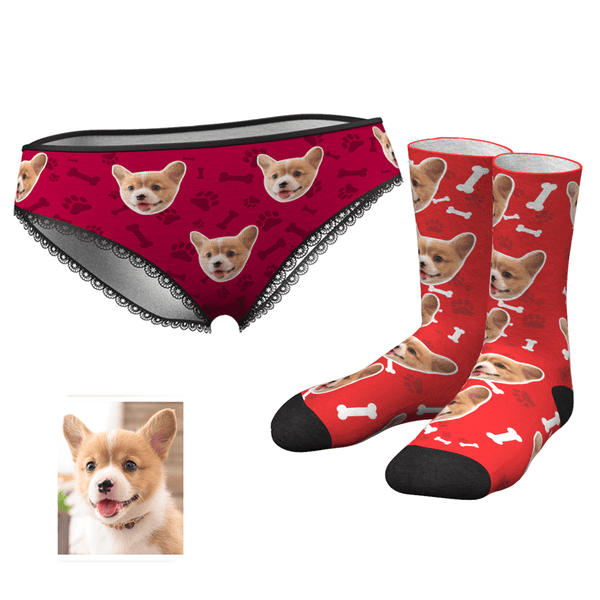 Custom Dog Face Panties And Socks Set