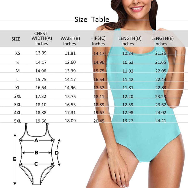 Custom Face Photo Women's One Piece Sexy Swimsuit