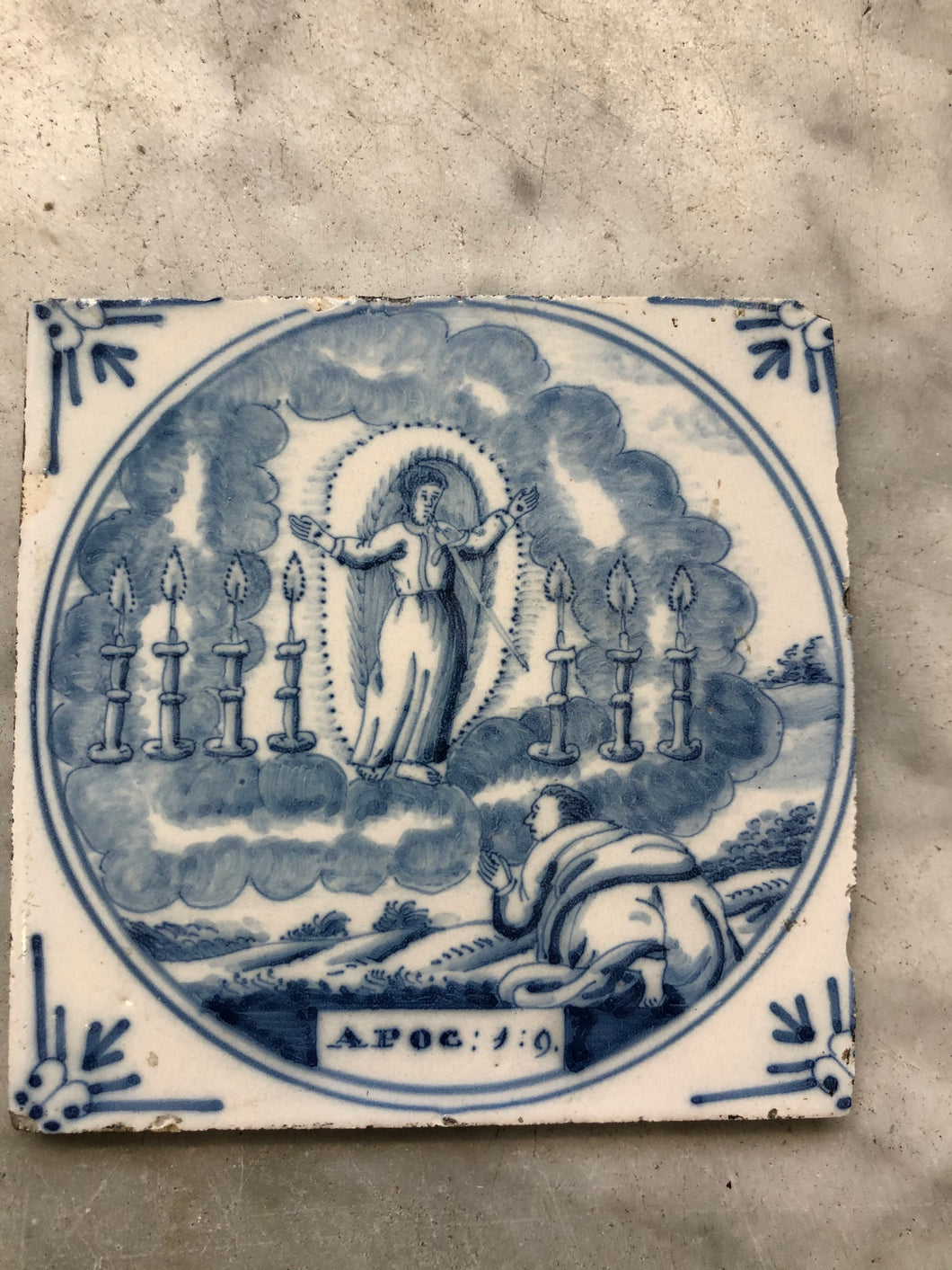 Rare bibical Delft handpainted tile made around 1760