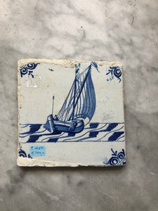 Handpainted dutch delft tile with ship
