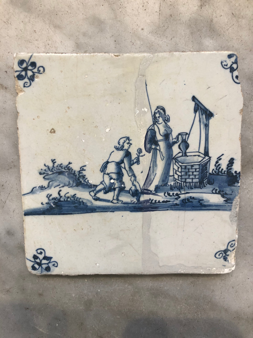 Nice delft handpainted dutch tile with lovecouple