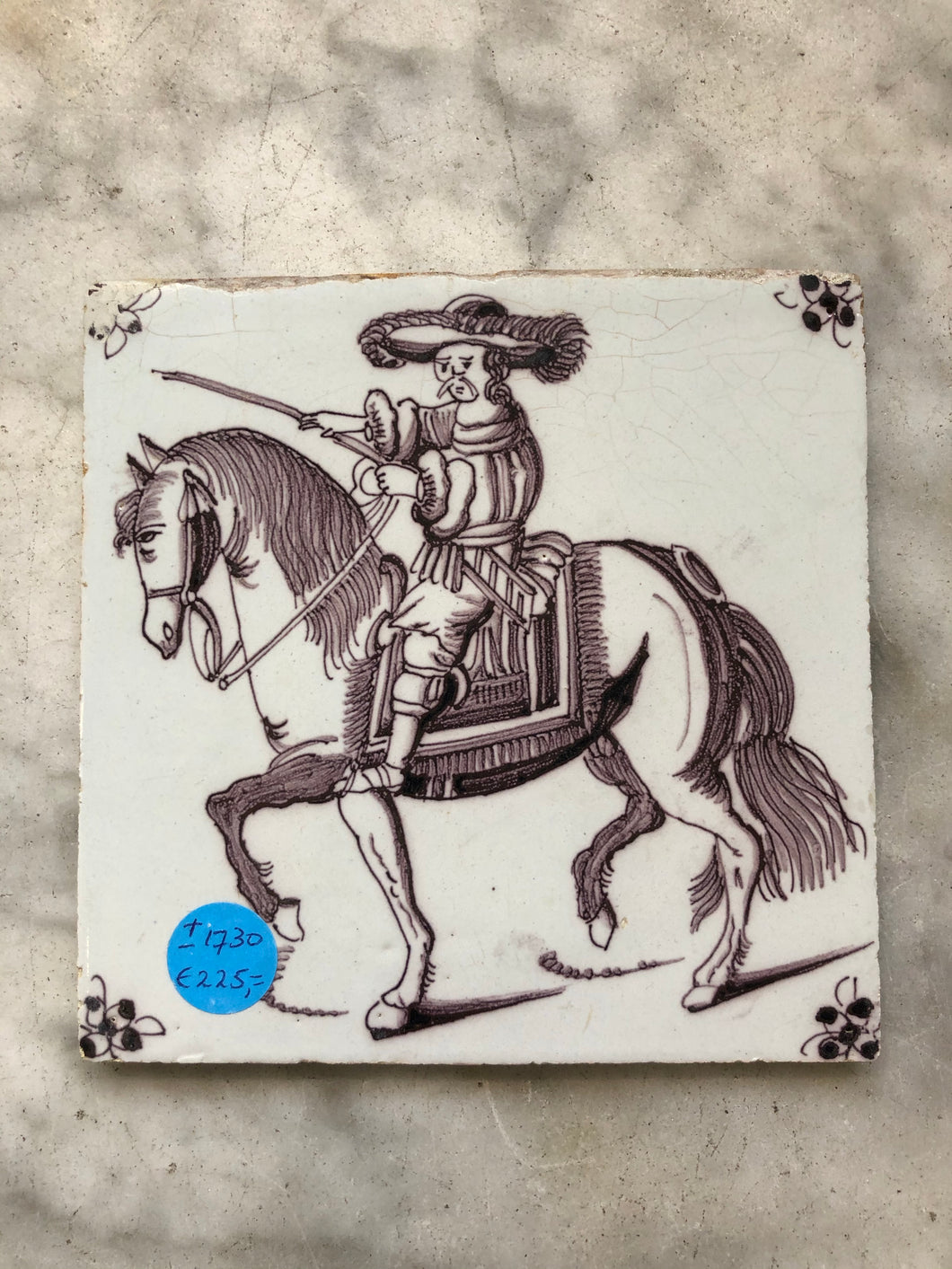 Very rare manganese handpainted dutch delft tile with nobleman