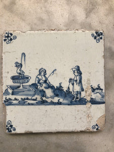 Delft handpainted dutch tile with pastoral scene