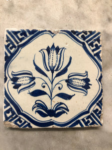 17 th century delft tile with tulips
