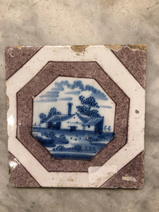 18th century Delft handpainted dutch tile with house