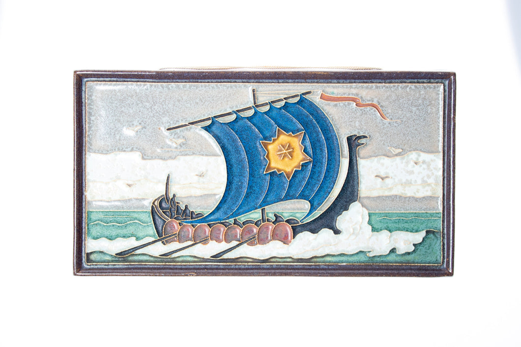 Royal Delft handpainted dutch tile with Viking ship