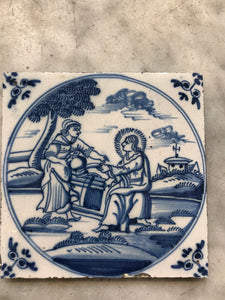 18th century Delft handpainted dutch bibical tile