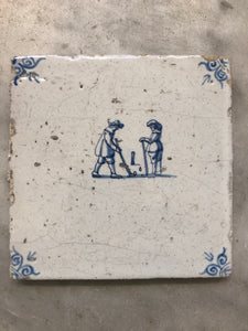 Rare nice 17 th century delft tile with golf