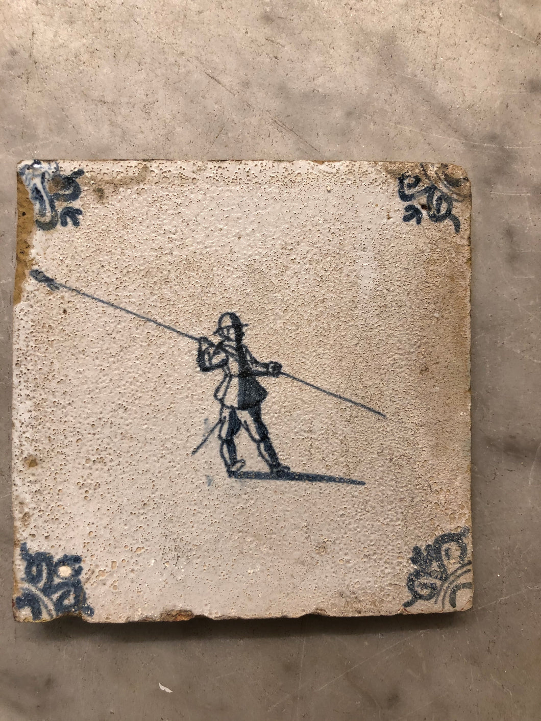 17 century delft handpainted dutch tile with soldier