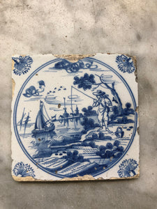 18th century Delft handpainted dutch tile with landscape