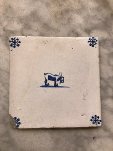 17 th century delft tile with goat